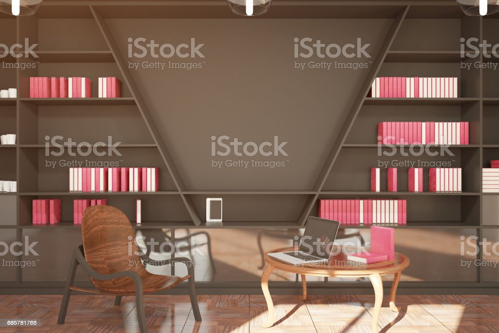 Modern library with blank wall royalty-free stock photo