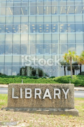 istock Modern library with sign 182805622