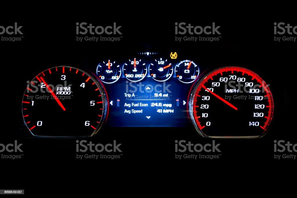 Modern light car mileage on black background Avr speed stock photo