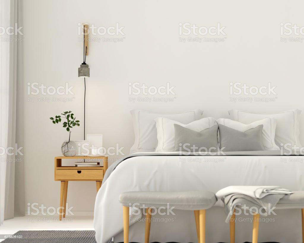 Modern light gray bedroom interior royalty-free stock photo
