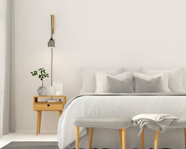 moderne helle grau schlafzimmer innenraum - schlafzimmer stock-fotos und bilder