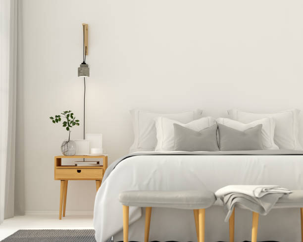Modern light gray bedroom interior 3D illustration. Modern bedroom interior in a light gray color with wooden furniture bedroom stock pictures, royalty-free photos & images