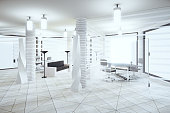 Modern light loft office in white colors with windows in floor and furniture