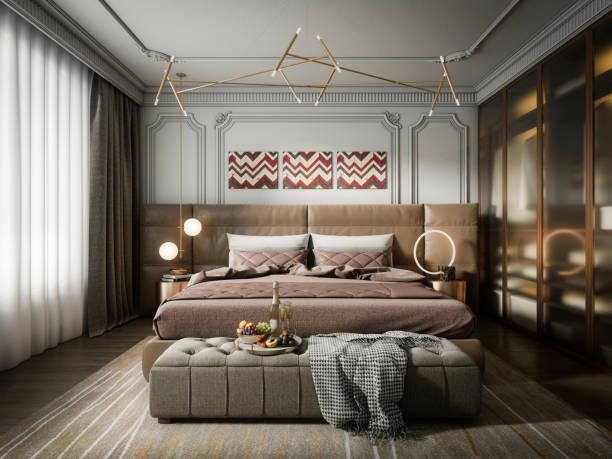 Modern Light Luxury Bedroom stock photo