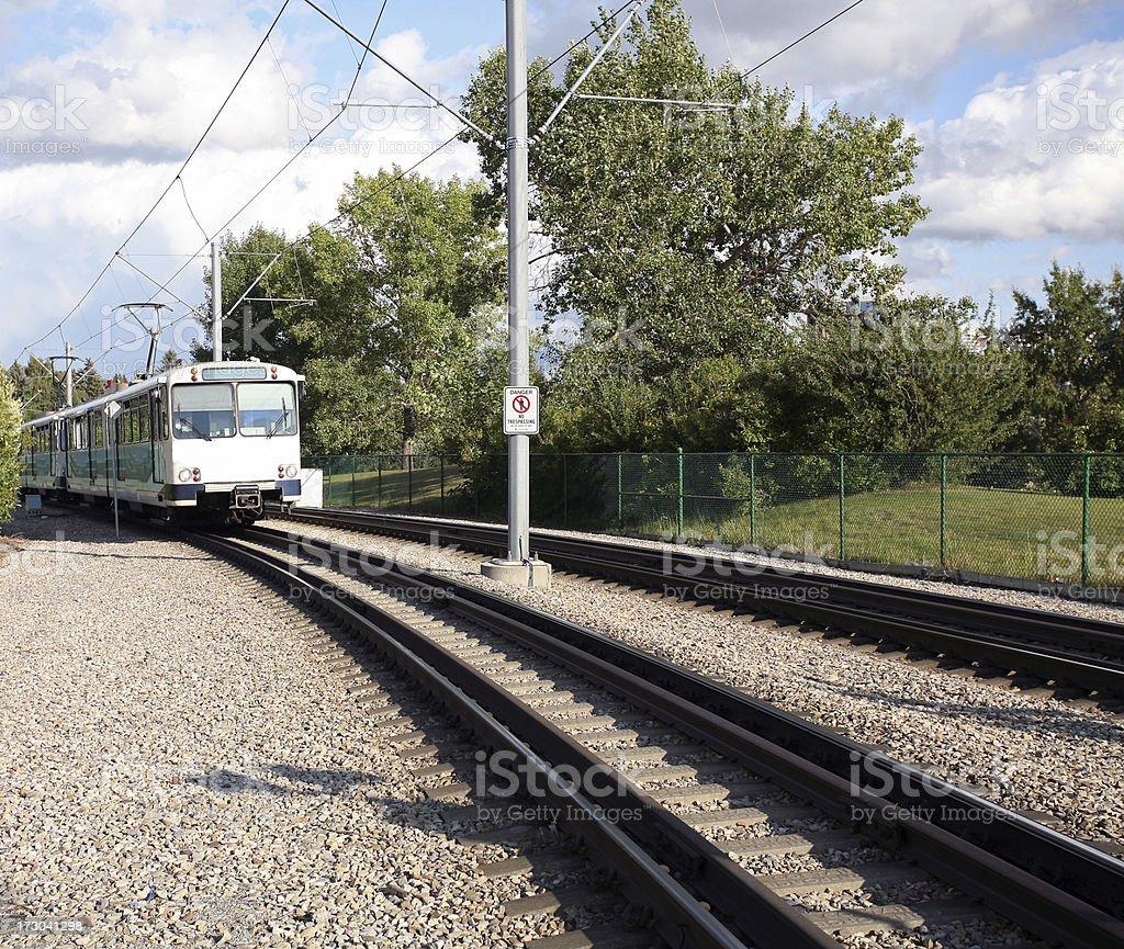 Modern Light Rail Transit Train and Tracks royalty-free stock photo