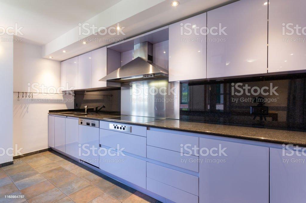 Modern lilac kitchen in luxury loft with modern appliances. No one...