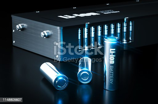 istock Modern lithium ion battery technology concept. Metal Li-Ion battery cells with electric vehicle battery pack on black background. 3d illustration. 1148805607