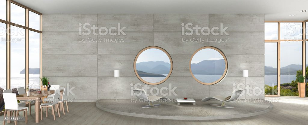 modern living and dining room in avant-garde architecture stock photo