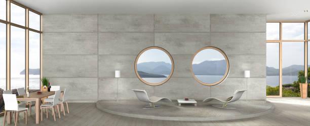 moderne wohn- und esszimmer im avantgarde-architektur - target raumgestaltung stock-fotos und bilder