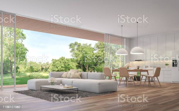 Photo of Modern Living, dining room and kitchen with garden view 3d render