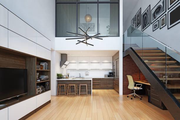 modern living interior stock photo