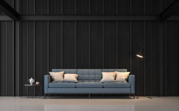 moderne wohnzimmer 3d render - wanddekoration metall stock-fotos und bilder