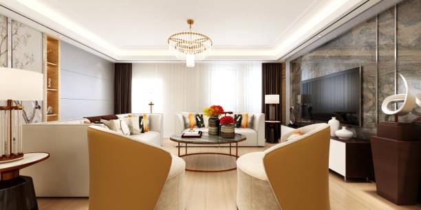 moderne wohnzimmer. 3d render. - dekoration rund um den fernseher stock-fotos und bilder