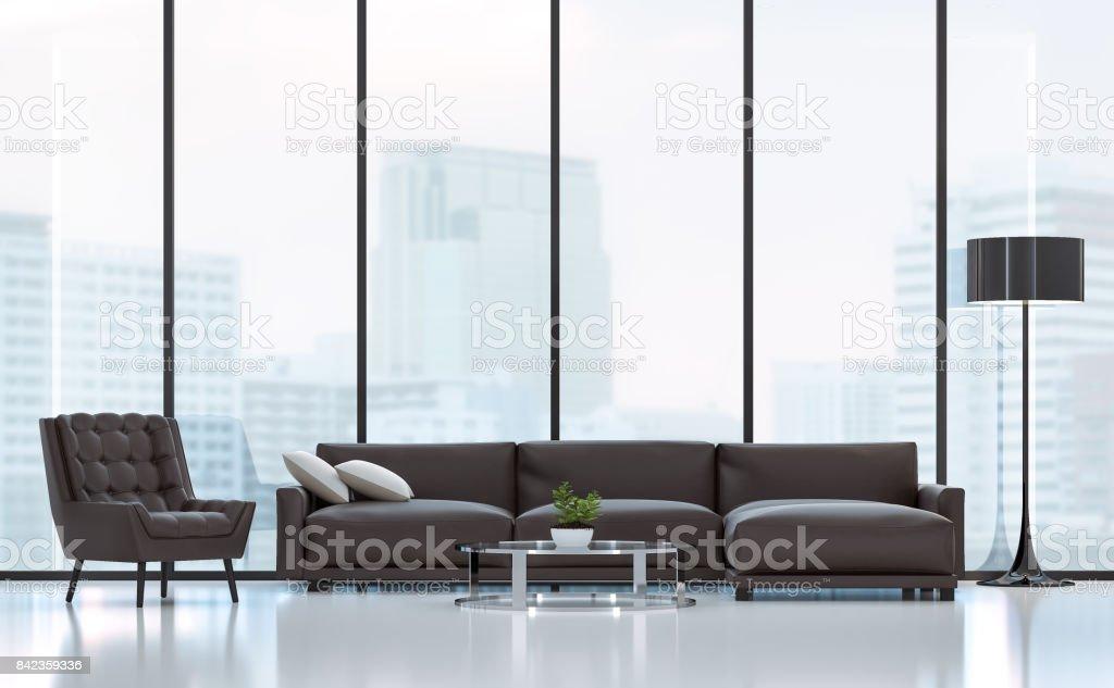 Moderne Wohnzimmer 3D-Rendering Bild – Foto