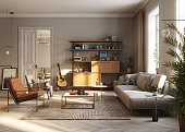 Computer generated image of a modern living room. 3D Rendering of a full furnished living Room interior.