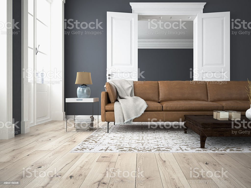 Modern Living Room. 3d Rendering Royalty Free Stock Photo
