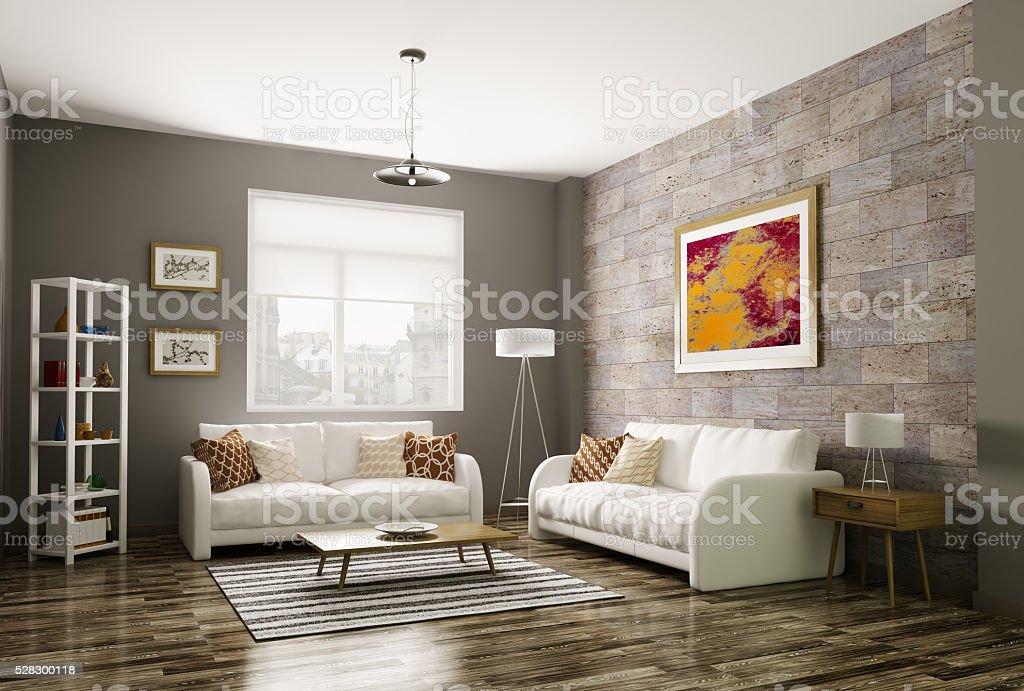 Moderne Wohnzimmer 3dabbildung - Stockfoto | iStock