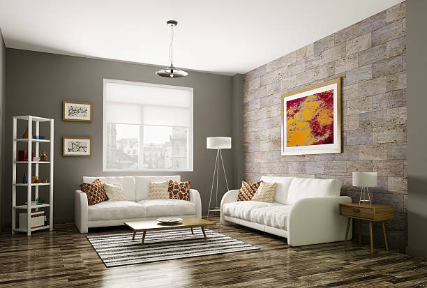 ... Modern living room 3d rendering stock photo ...