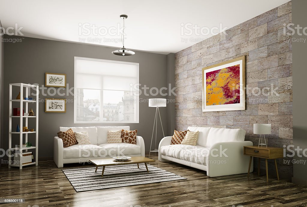Nice Modern Living Room 3d Rendering Stock Photo