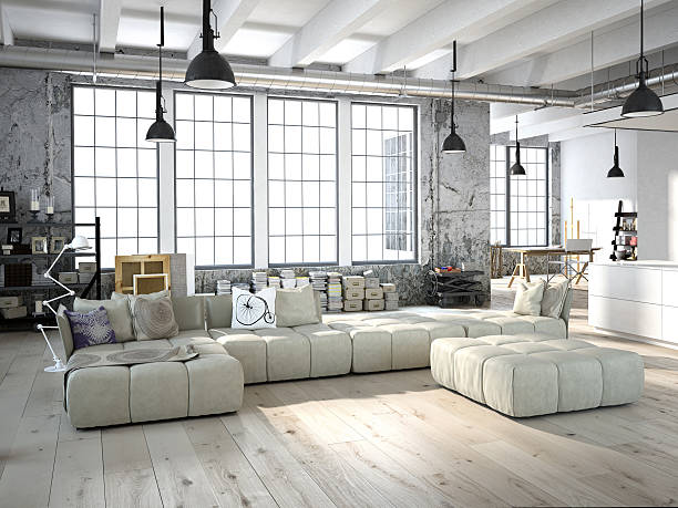 modern living room. 3d rendering - loft apartment stock pictures, royalty-free photos & images