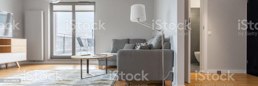 Modern living room and hallway stock photo