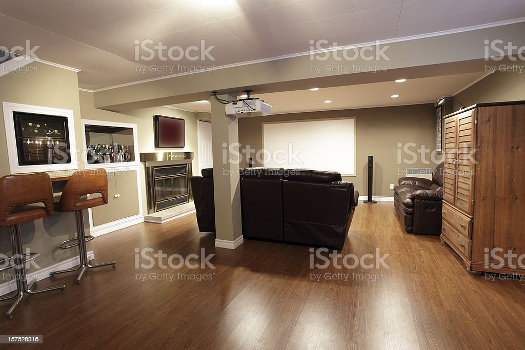 Modern Living Room and Home Cinema stock photo