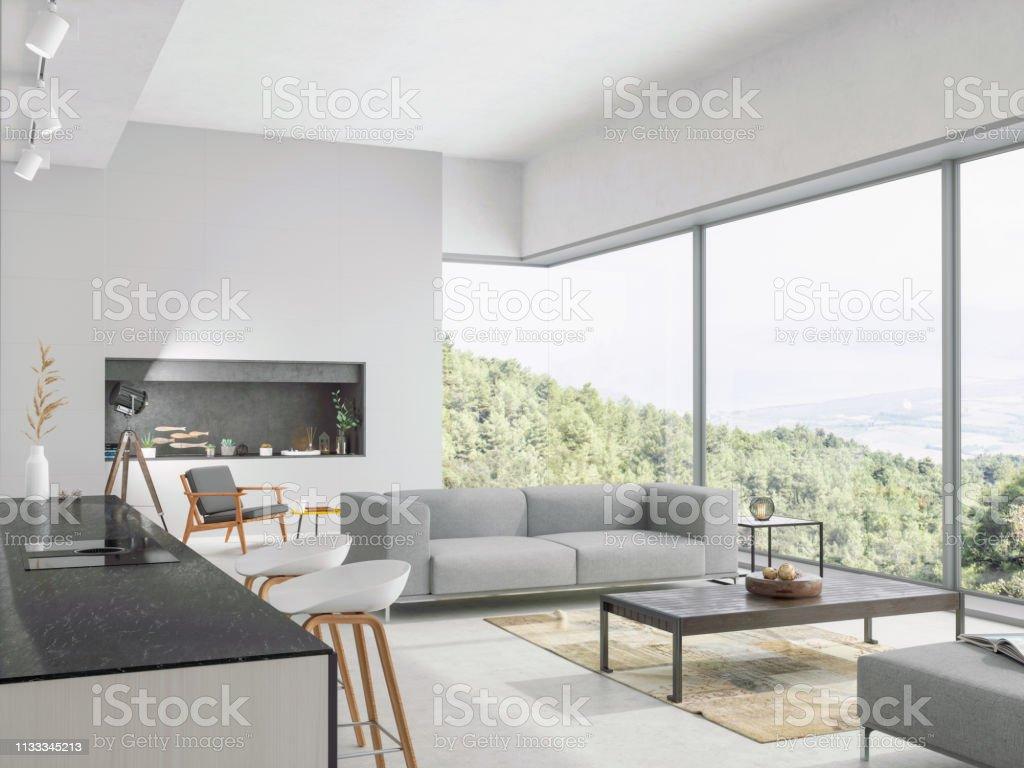 Modernes Wohnzimmer Und Küche Mit Blick Auf Die Natur Stockfoto und mehr  Bilder von Architektur