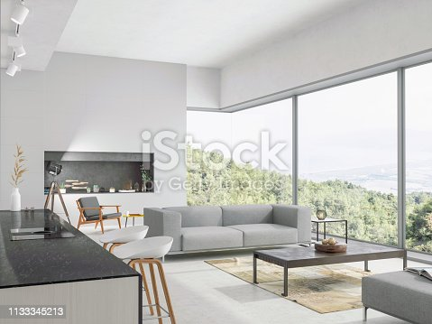 Modern living room and kitchen interior with nature view