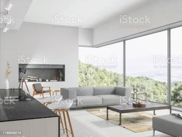 Modern living room and kitchen interior with nature view picture id1133345213?b=1&k=6&m=1133345213&s=612x612&h=b r7davvk7lac4e7cej 4afrkea56fhpdqsz8a7avp8=