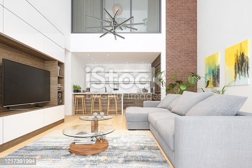 640265128 istock photo Modern Living Room And Kitchen Interior With Television Set 1217391994