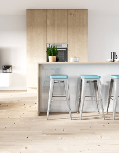 modern living room and kitchen - nelleg stock photos and pictures