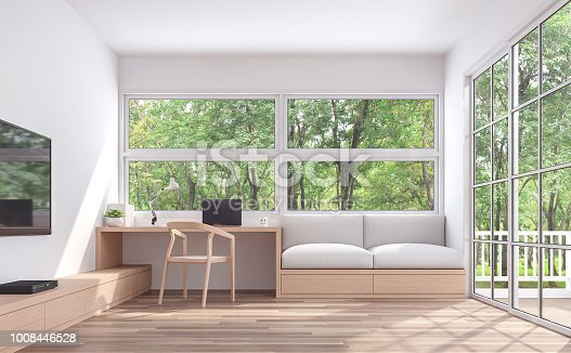 1090975842 istock photo Modern living room and working corner with nature view 3d render 1008446528