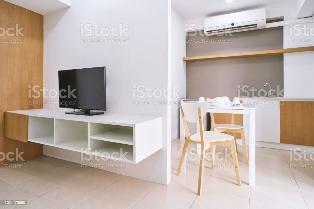 Moderne Wohnzimmer Wohnung Dekoration Mit Einbaumöbeln Und