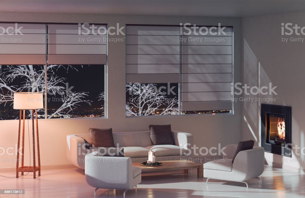 Modern Living room at night – zdjęcie