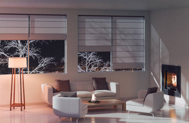 modern living room at night - estore imagens e fotografias de stock