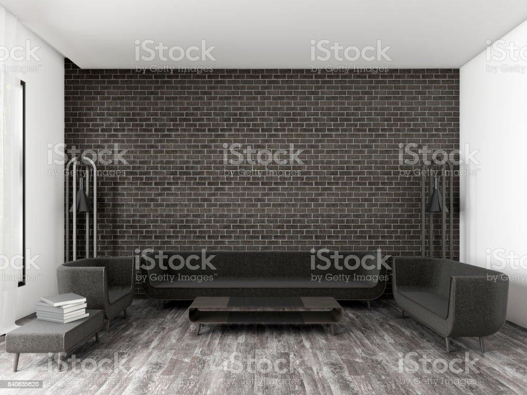 Modern Living Room Black Brick Wall 3d Rendering Stock Photo ...