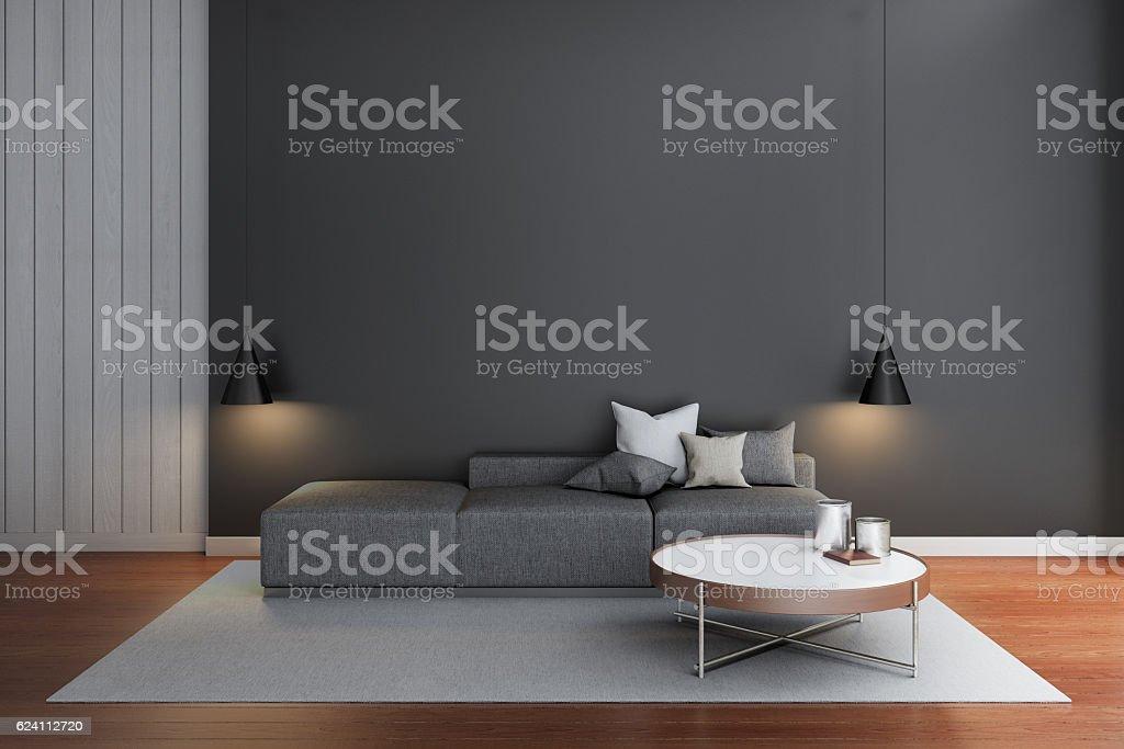Modern Living Room Black Wall Stockfoto und mehr Bilder von ...