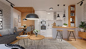 Render of a beautiful white domestic living room and kitchen with wooden elements.