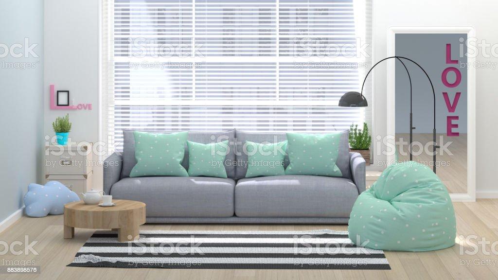 Moderne woonkamer kopie ruimte en object minimale concept lege