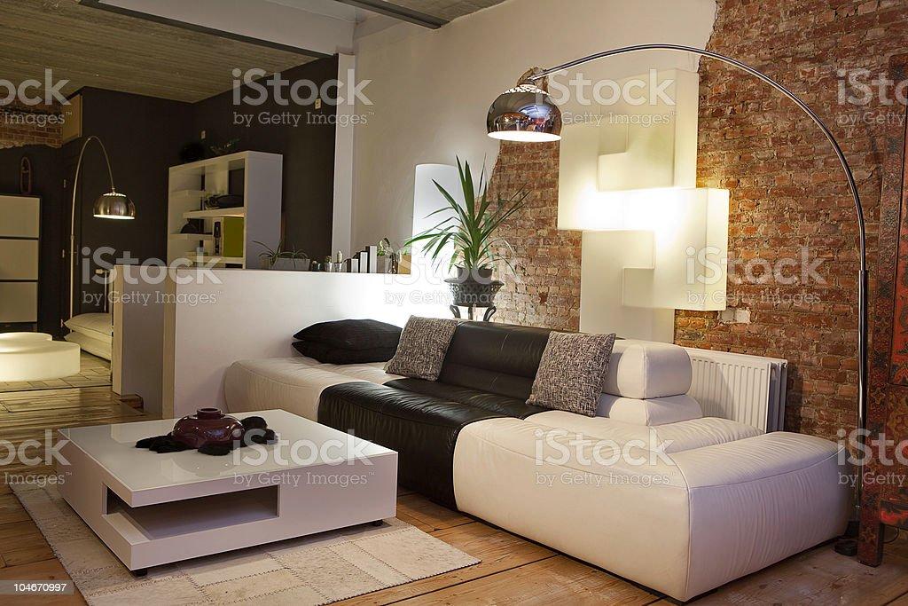 Modern Living Room Couch Sofa Lamp Design Interior Stock ...
