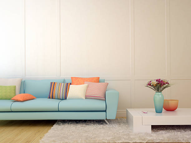 moderne dekor des living room - hellblaues zimmer stock-fotos und bilder