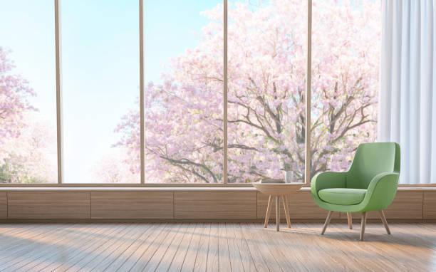 moderne wohnzimmer schmücken raum mit holz 3d-bild rendern - meditationsräume stock-fotos und bilder