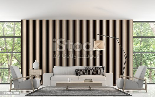 istock Modern living room decorate wall with wooden lattice 3d rendering image 668889458