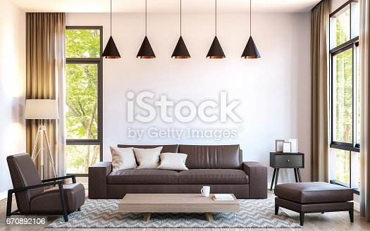 istock Modern living room decorate with  brown leather furniture 3d rendering image 670892106