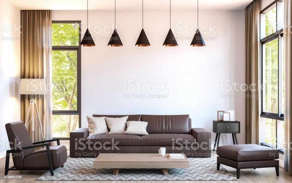 Modern living room decorate with  brown leather furniture 3d rendering image stock photo