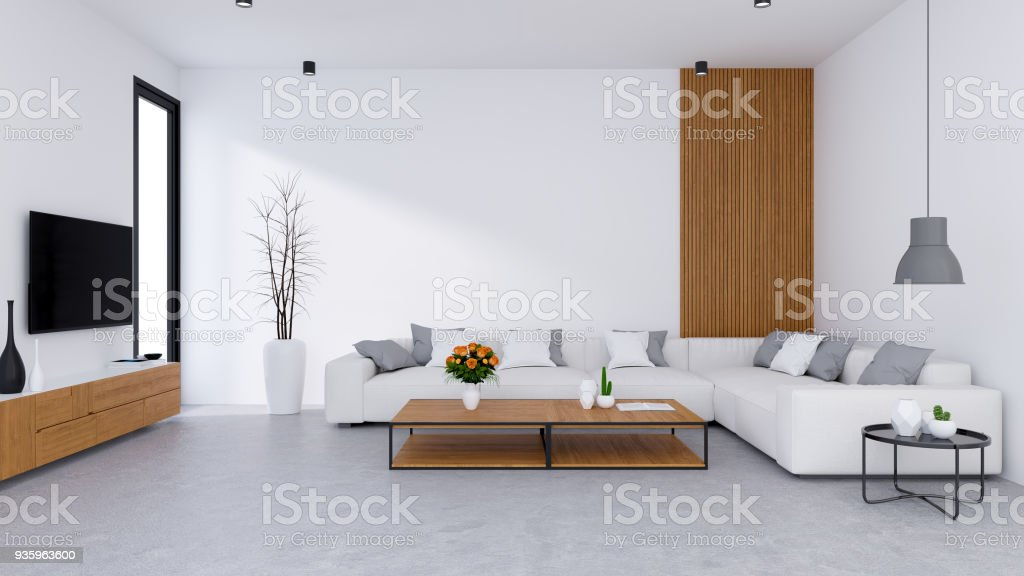 Modern Living Room Design And Cozy Living Style White Sofa With Wooden Tv  Cabinet On Concrete Floor3d Render Stock Photo - Download Image Now