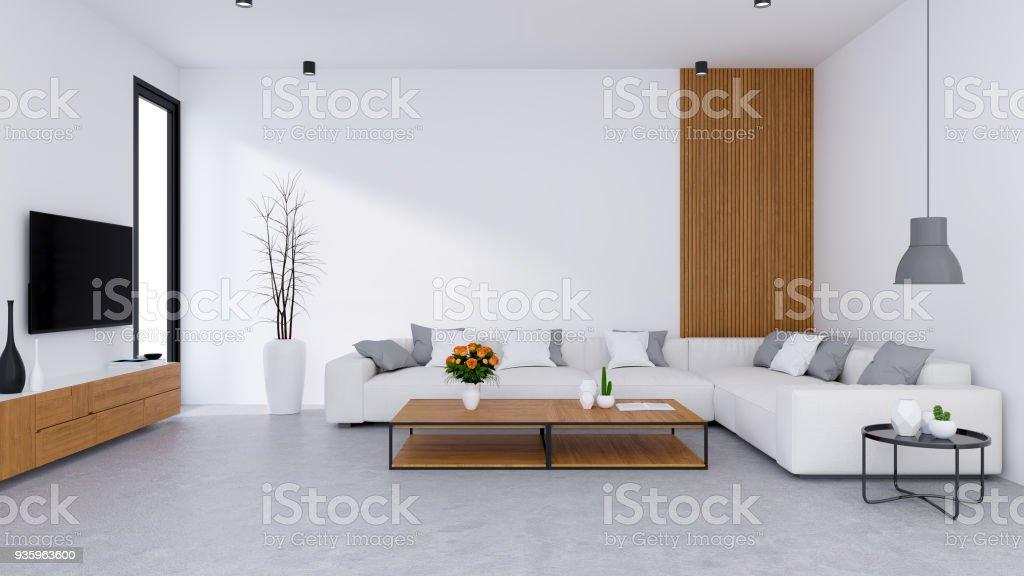 Photo libre de droit de Salon Moderne Design Et Style De Vie Confortable  Canapé Blanc Avec Meuble De Tv En Bois Sur Sol En Béton 3d Render banque ...