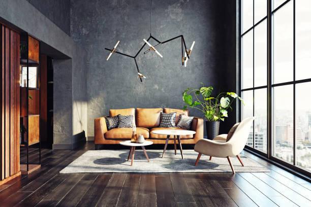 Modern living room design. stock photo