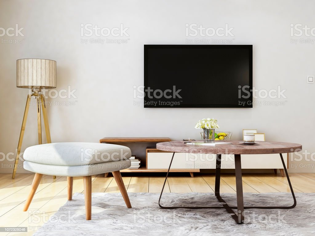 Modern Living Room Design Sofa Bench Coffee Table Tv And ...