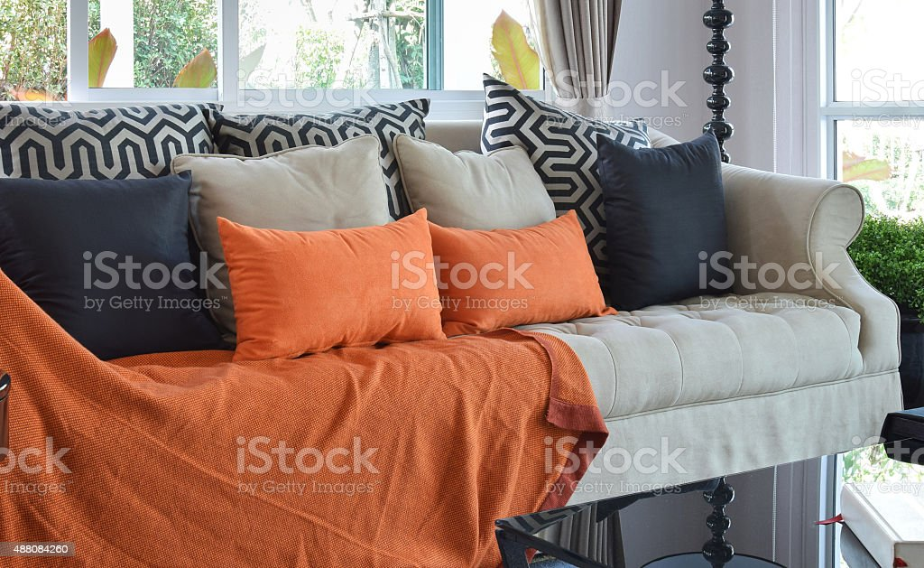 Remarkable Modern Living Room Design With Brown And Orange Tweed Sofa Machost Co Dining Chair Design Ideas Machostcouk